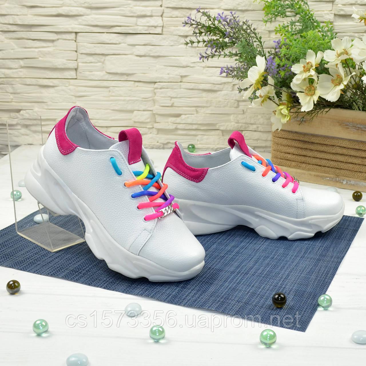 Кроссовки женские кожаные на спортивной подошве, цвет белый/фуксия