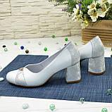 Туфли женские на невысоком устойчивом каблуке, натуральная кожа, фото 3