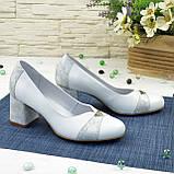 Туфли женские на невысоком устойчивом каблуке, натуральная кожа, фото 4