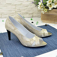 Туфли женские с открытым носком, натуральная кожа питон цвета золото, фото 1