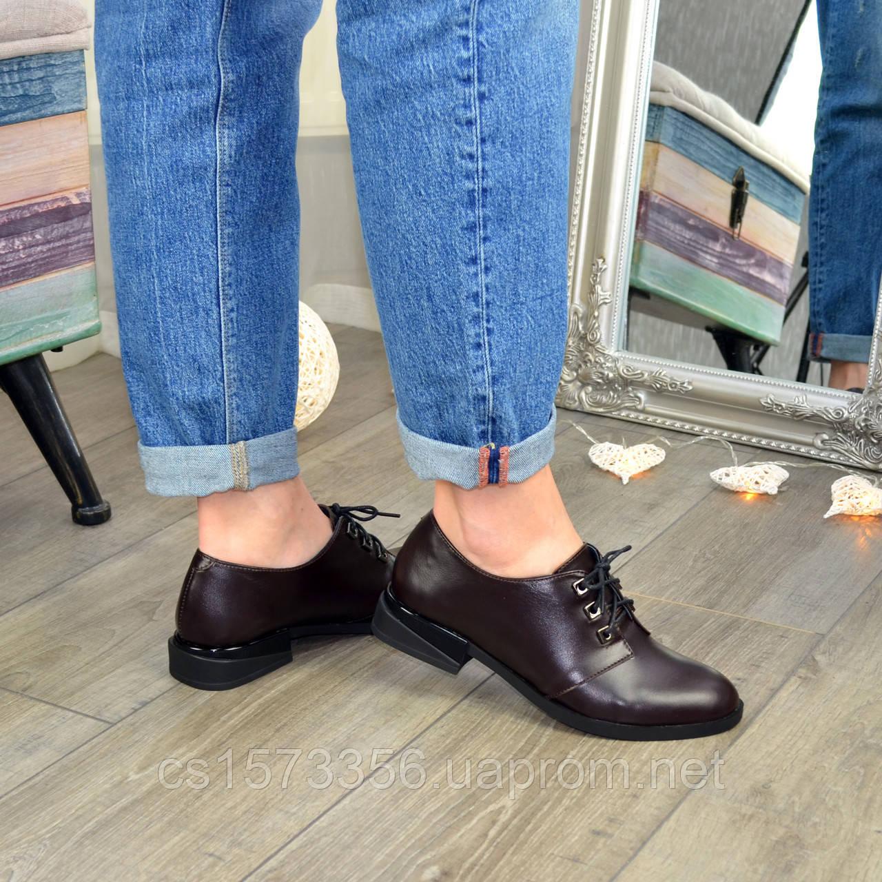 Туфли женские кожаные на шнуровке, низкий ход. Цвет коричневый