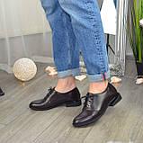 Туфли женские кожаные на шнуровке, низкий ход. Цвет коричневый, фото 2