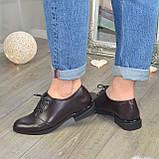Туфли женские кожаные на шнуровке, низкий ход. Цвет коричневый, фото 3