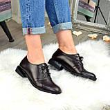 Туфли женские кожаные на шнуровке, низкий ход. Цвет коричневый, фото 4
