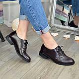 Туфли женские кожаные на шнуровке, низкий ход. Цвет коричневый, фото 5