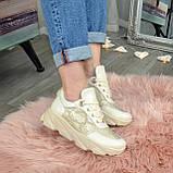 Кроссовки женские кожаные бежевые на спортивной подошве, фото 2