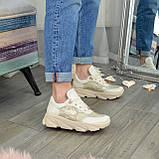 Кроссовки женские кожаные бежевые на спортивной подошве, фото 5