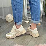 Кроссовки женские кожаные бежевые на спортивной подошве, фото 6