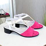 Босоножки женские на невысоком каблуке, цвет фуксия/белый, фото 2