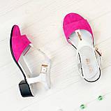Босоножки женские на невысоком каблуке, цвет фуксия/белый, фото 3