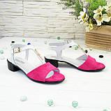 Босоножки женские на невысоком каблуке, цвет фуксия/белый, фото 5