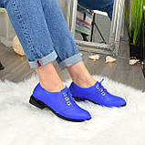 Туфли женские кожаные на шнуровке, низкий ход. Цвет электрик, фото 2