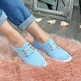 Туфли женские голубые замшевые на шнуровке, фото 2