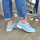 Туфли женские голубые замшевые на шнуровке, фото 4
