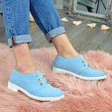 Туфли женские голубые замшевые на шнуровке, фото 6