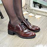 Туфли женские на маленьком каблуке, натуральная кожа рабат коричневого цвета, фото 2