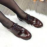 Туфли женские на маленьком каблуке, натуральная кожа рабат коричневого цвета, фото 3