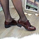 Туфли женские на маленьком каблуке, натуральная кожа рабат коричневого цвета, фото 4