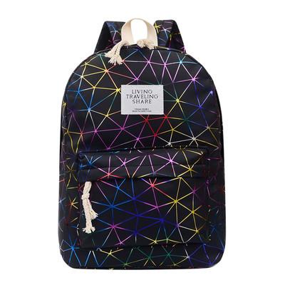 Городской женский черный рюкзак геометрия