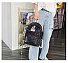 Городской женский черный рюкзак геометрия, фото 3