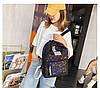Городской женский черный рюкзак геометрия, фото 7