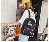 Городской женский черный рюкзак геометрия, фото 6