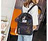 Городской женский черный рюкзак геометрия, фото 5