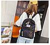 Городской женский черный рюкзак геометрия, фото 8