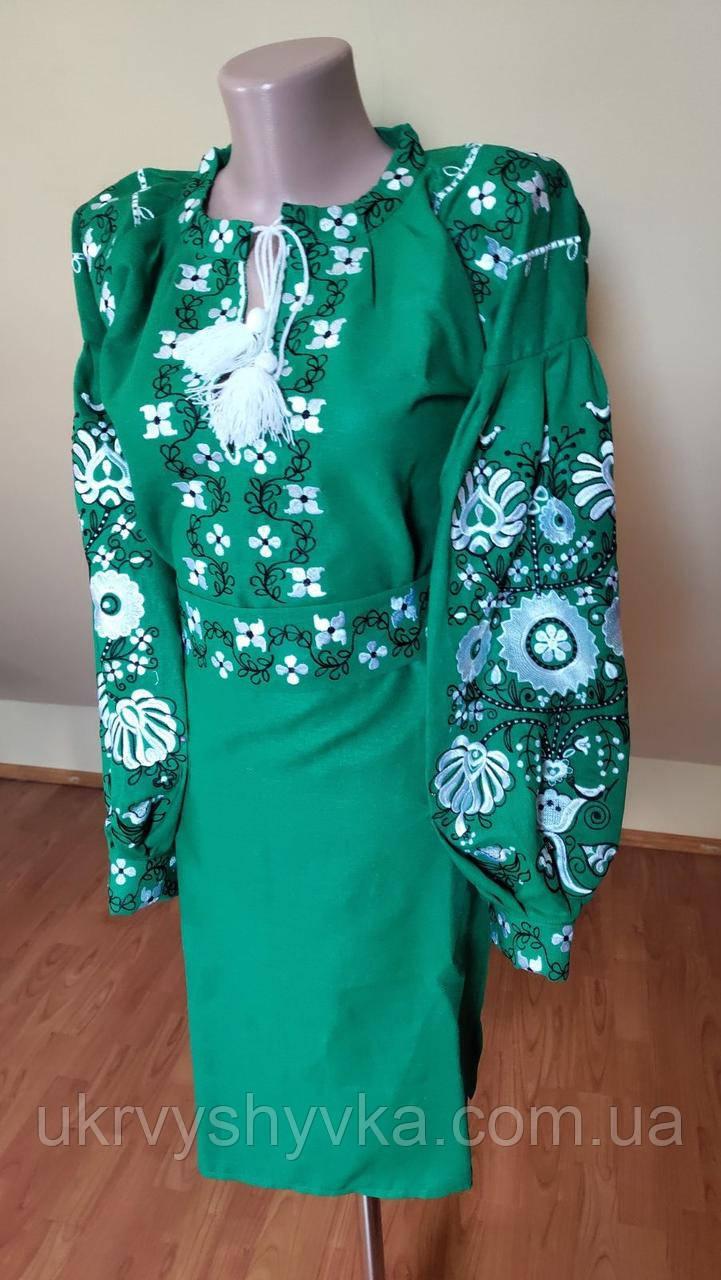 "Вишита сукня ""Квітуче дерево"" зелена"
