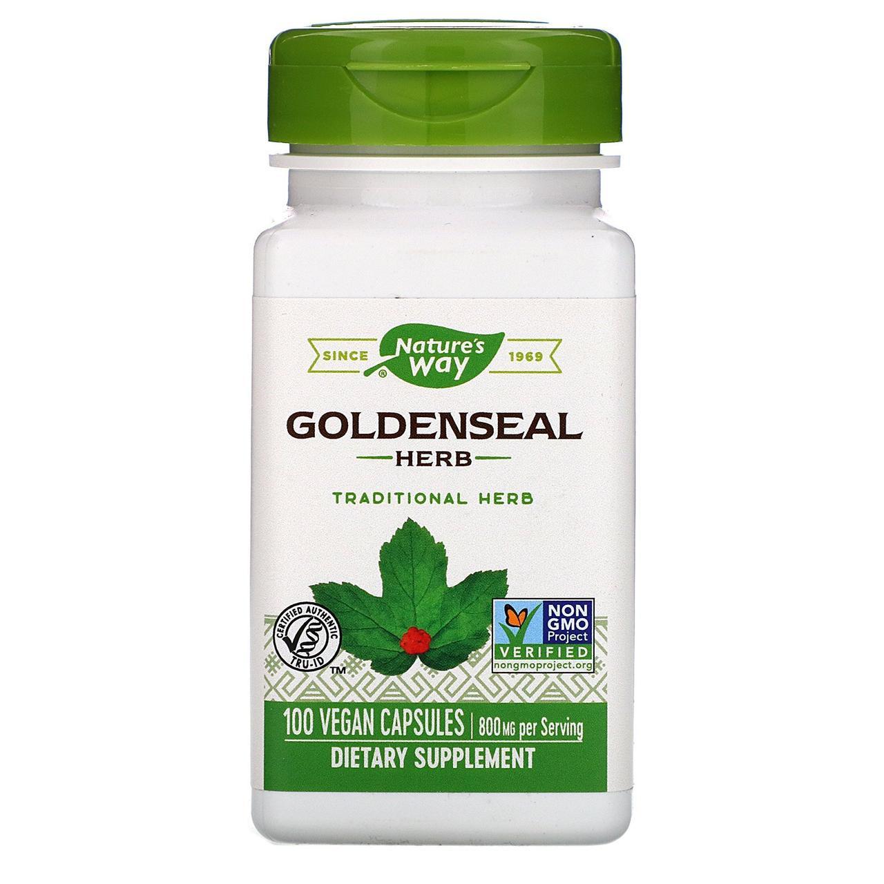 """Желтокорень Nature's Way """"Goldenseal Herb"""" 800 мг (100 капсул)"""