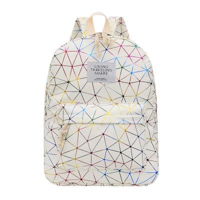 Городской женский белый рюкзак геометрия