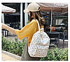 Городской женский белый рюкзак геометрия, фото 6