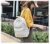 Городской женский белый рюкзак геометрия, фото 7