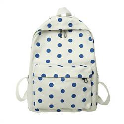 Городской женский белый рюкзак в синий горошек