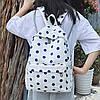Городской женский белый рюкзак в синий горошек, фото 2