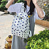 Городской женский белый рюкзак в синий горошек, фото 4