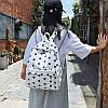 Городской женский белый рюкзак в синий горошек, фото 3