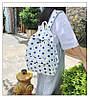 Городской женский белый рюкзак в синий горошек, фото 6