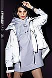 Ветровка молодежная из плащевой ткани цвет  хамелеон серая и белая, фото 9