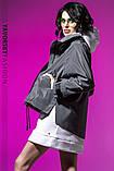 Ветровка молодежная из плащевой ткани цвет  хамелеон серая и белая, фото 6