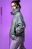 Ветровка молодежная из плащевой ткани цвет  хамелеон серая и белая, фото 8