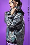 Ветровка молодежная из плащевой ткани цвет  хамелеон серая и белая, фото 4