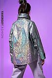 Ветровка молодежная из плащевой ткани цвет  хамелеон серая и белая, фото 5