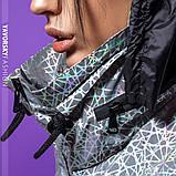 Ветровка молодежная из плащевой ткани цвет  хамелеон серая и белая, фото 3