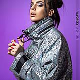 Ветровка молодежная из плащевой ткани цвет  хамелеон серая и белая, фото 2