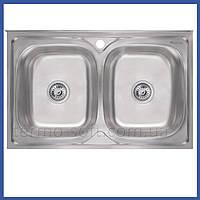 Двойная мойка для кухни из нержавейки Imperial 5080 Satin (IMP5080SATD) прямоугольная накладная