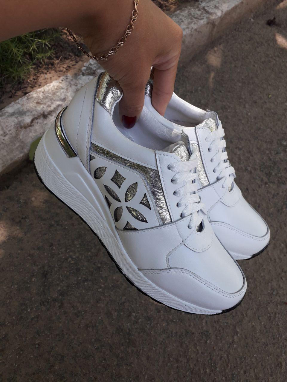Женские кроссовки из натуральной кожи белого цвета, 12004