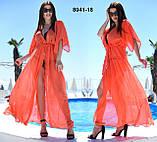 """Жіноча стильна пляжна туніка у великих розмірах 8041- (11-23) """"Шифон Зав'язка Максі"""" в кольорах, фото 5"""