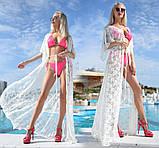 """Жіноча стильна пляжна туніка 9097 """"Гіпюр Квітка Максі"""" в кольорах, фото 3"""