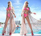 """Жіноча стильна пляжна туніка 9097 """"Гіпюр Квітка Максі"""" в кольорах, фото 6"""